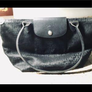 Longchamps Modele Depose Black Nylon Logo Bag